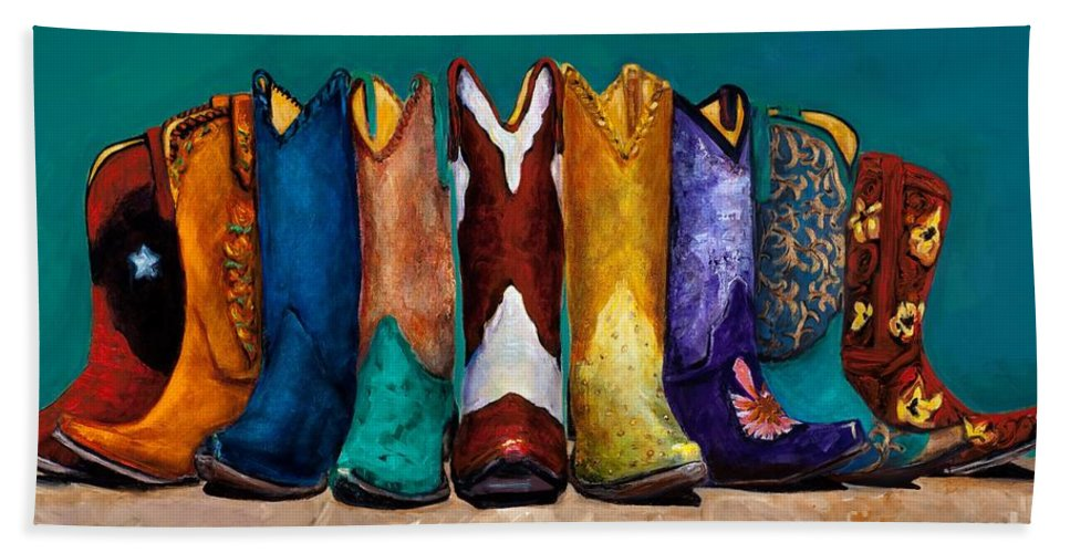 Cowboy Boot Bath Sheet featuring the painting Why Real Men Want To Be Cowboys 2 by Frances Marino