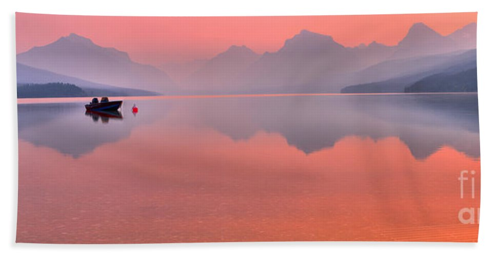 Lake Mcdonald Hand Towel featuring the photograph Wiating For The Next Ride by Adam Jewell