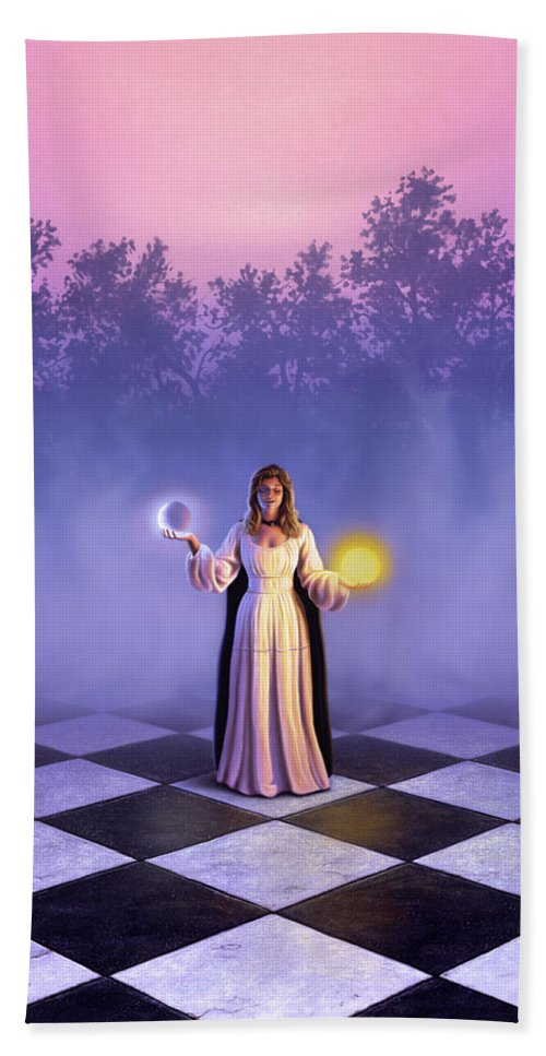 Woman Bath Sheet featuring the painting Wiccan Dawn by Jerry LoFaro