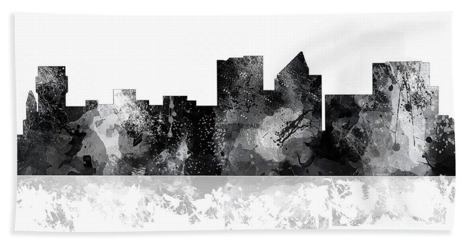 Wichita Kansas Skyline Bath Sheet featuring the digital art Wichita Kansas Skyline by Marlene Watson