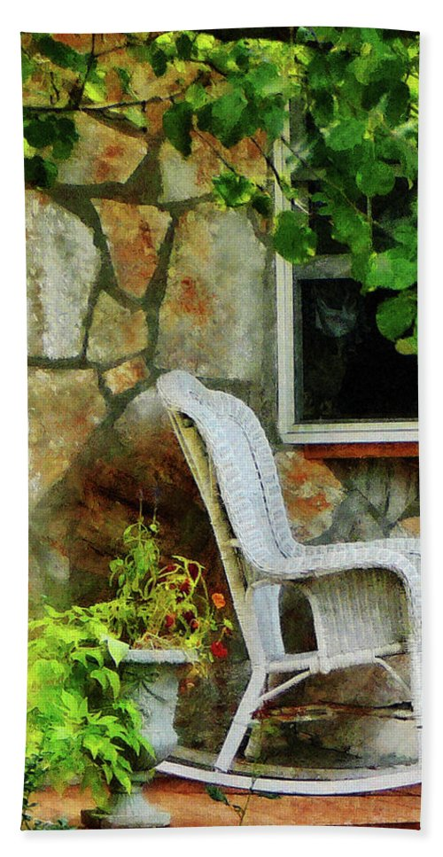 Porch Bath Sheet featuring the photograph Wicker Rocking Chair On Porch by Susan Savad