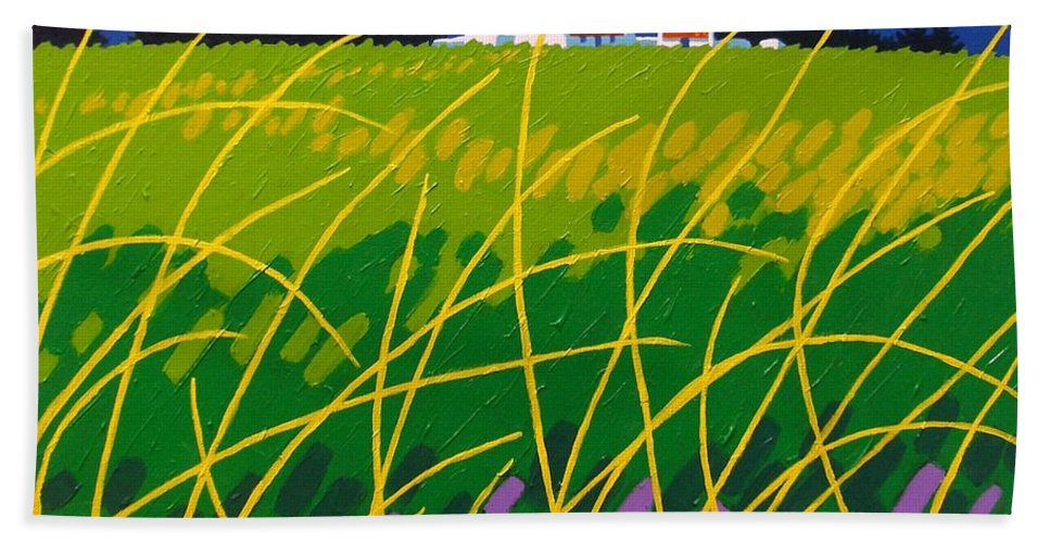 Irish Landspare Hand Towel featuring the painting Wicklow Meadow Ireland by John Nolan