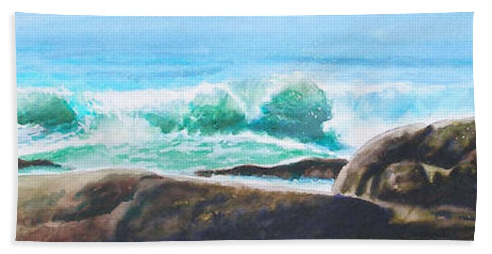 Seascape Hand Towel featuring the painting Widescreen Wave by Ken Meyer
