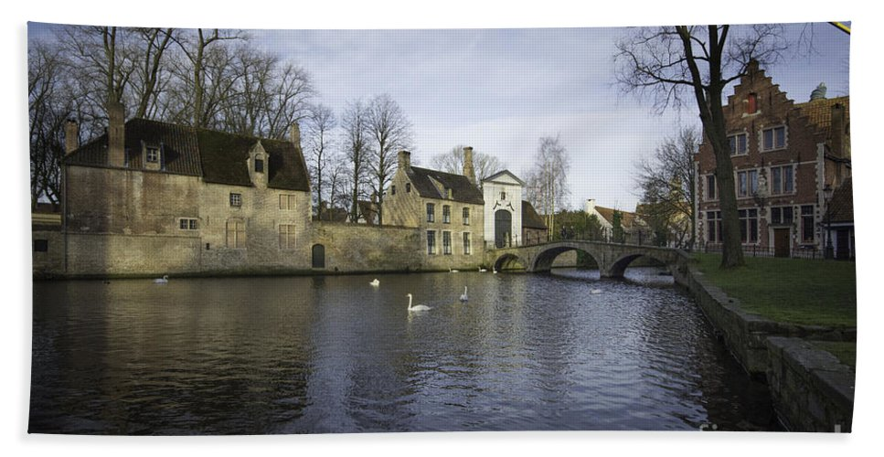 Bruges Belgium Hand Towel featuring the photograph Wijngaardplein Bruges by Smart Aviation