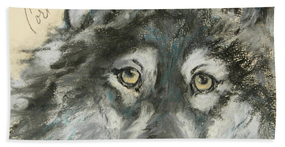 Wolf Bath Sheet featuring the drawing Wild At Heart by Cori Solomon