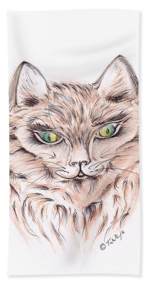 Teresa White Hand Towel featuring the drawing Wild- Brown Hair Cat by Teresa White