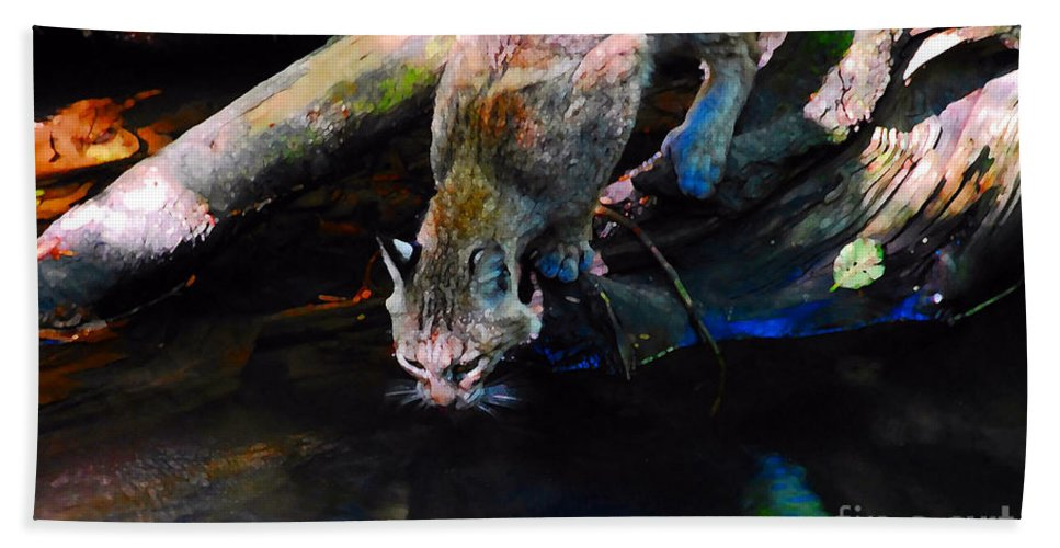 Cat.wild Bath Sheet featuring the photograph Wild Cat Drinking by David Lee Thompson