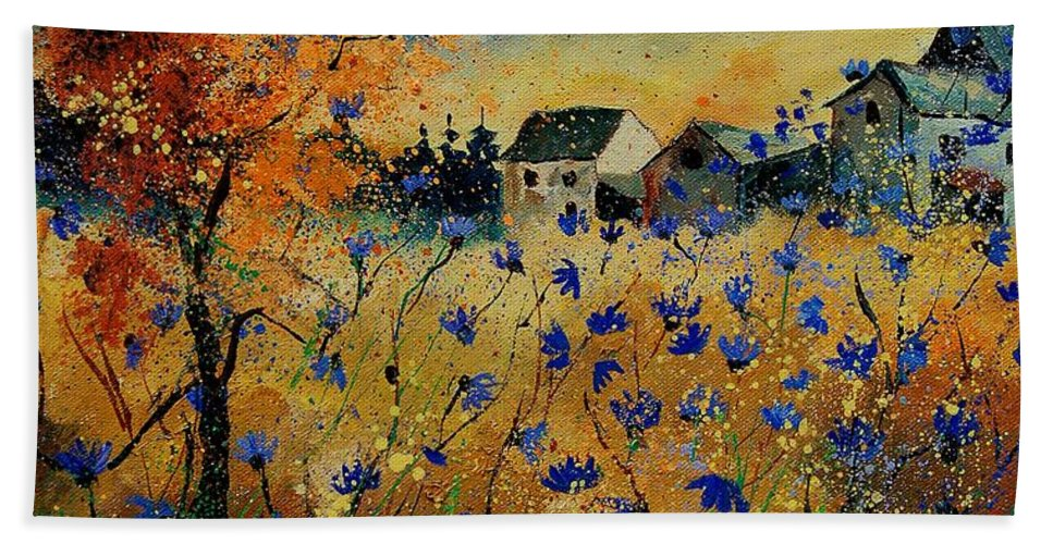 Flowers Hand Towel featuring the painting Wild Chicorees 56 by Pol Ledent