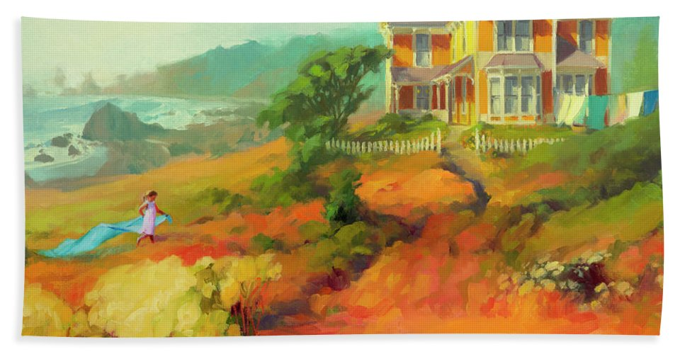 Child Hand Towel featuring the painting Wild Child by Steve Henderson