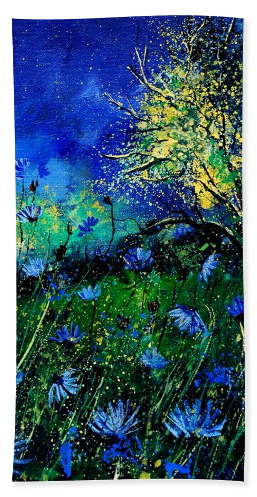 Poppies Bath Towel featuring the painting Wild Chocoree by Pol Ledent