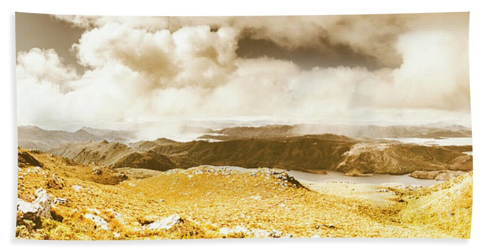Tasmania Hand Towel featuring the photograph Wild Country Lookout by Jorgo Photography - Wall Art Gallery