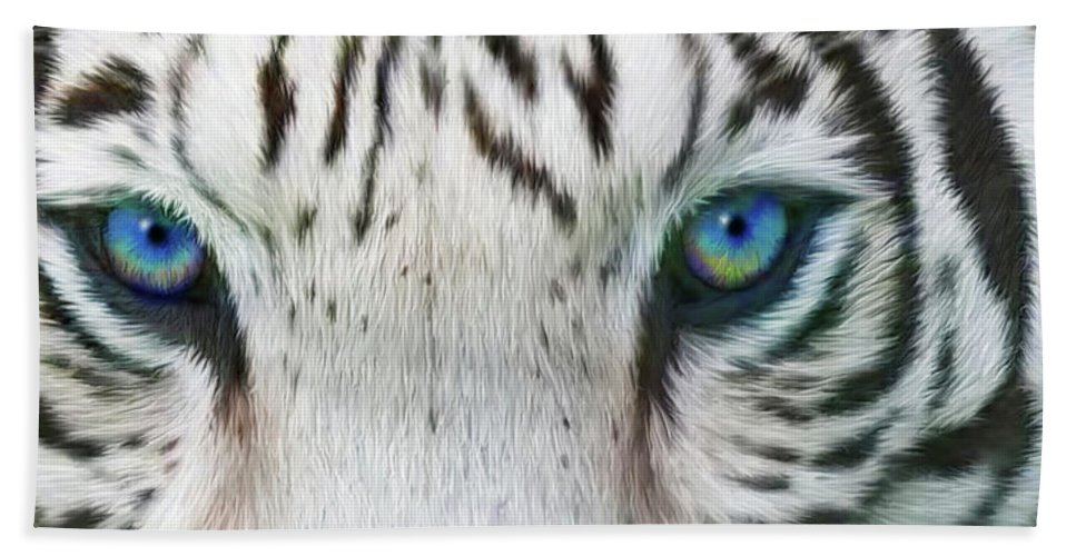 Tiger Hand Towel featuring the mixed media Wild Eyes - White Tiger by Carol Cavalaris