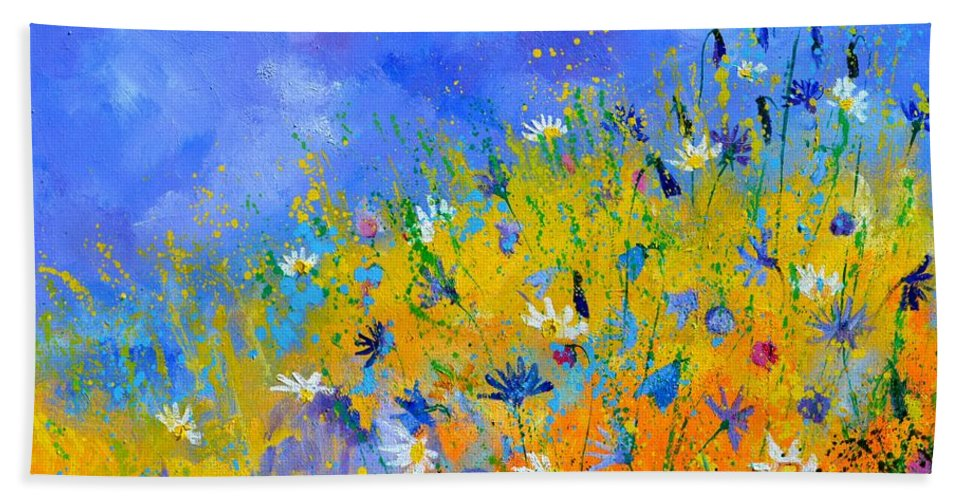 Flowers Hand Towel featuring the painting Wild fieldflowers by Pol Ledent