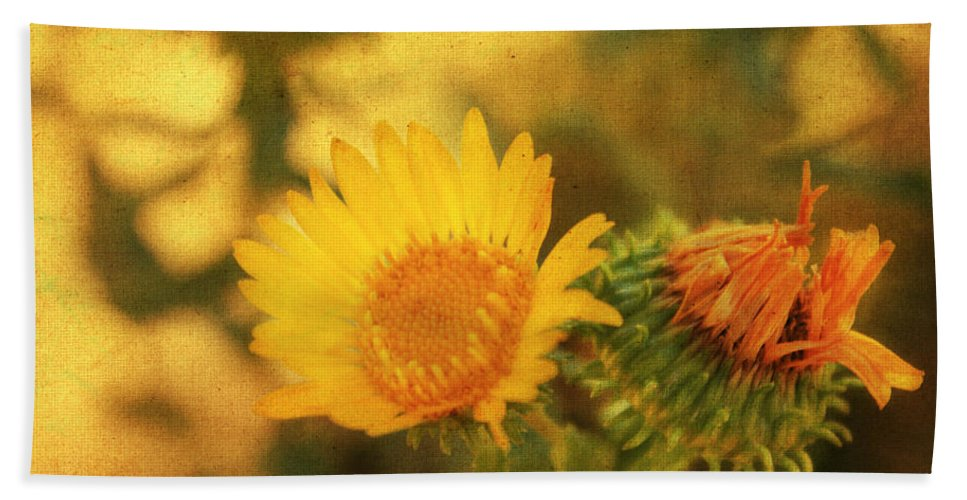 Floral Print Hand Towel featuring the mixed media Wild Flower by Julie Hamilton