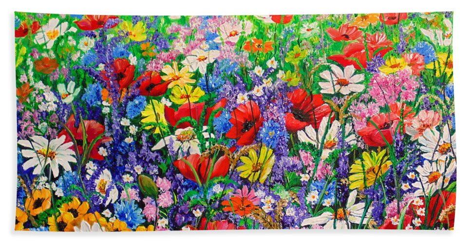 Wild Flowers Bath Towel featuring the painting Wild Flower Meadow by Karin Dawn Kelshall- Best
