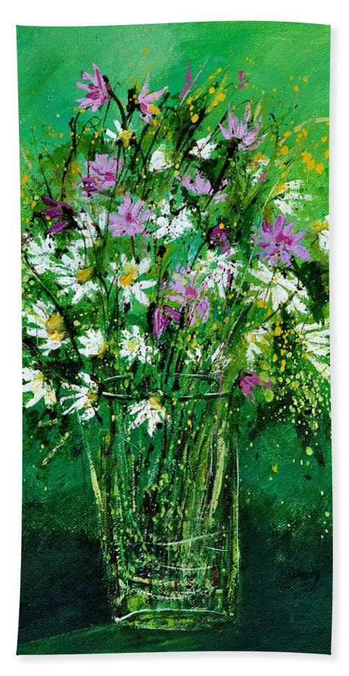 Flowers Bath Sheet featuring the painting Wild Flowers 450150 by Pol Ledent