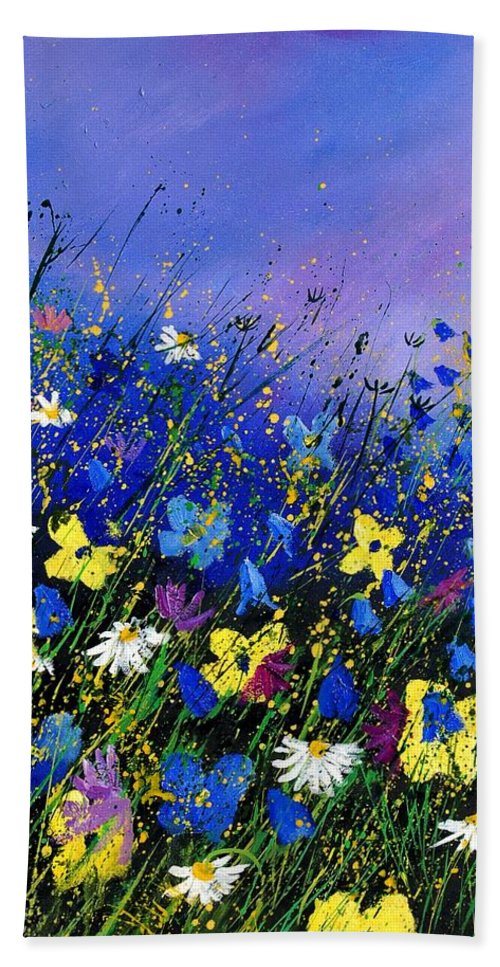 Flowers Bath Sheet featuring the painting Wild Flowers 560908 by Pol Ledent
