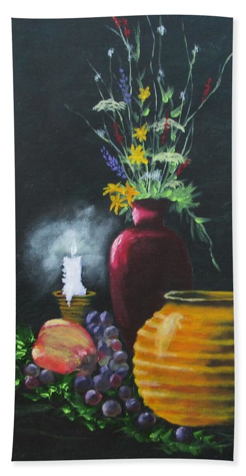 Still Life Art Hand Towel featuring the painting Wild Flowers And Things by Robert Clark