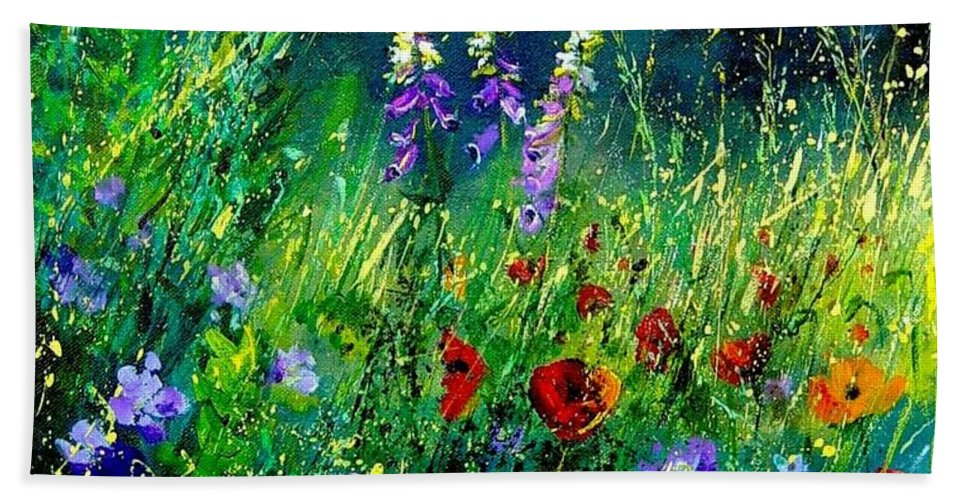 Poppies Bath Towel featuring the painting Wild Flowers by Pol Ledent