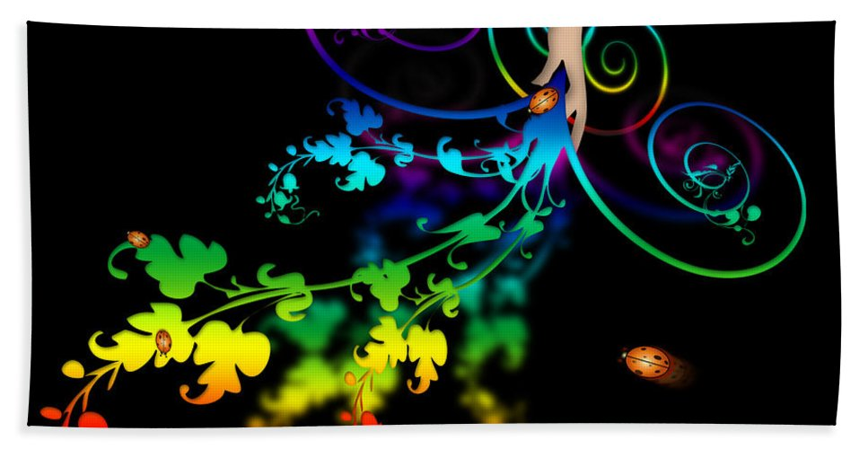 Abstract Bath Sheet featuring the digital art Wild Flowers by Svetlana Sewell