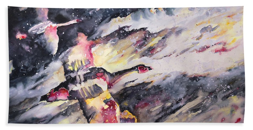 Birds Painting Bath Sheet featuring the painting Wild Geese Flying In A Snow Storm by Miki De Goodaboom