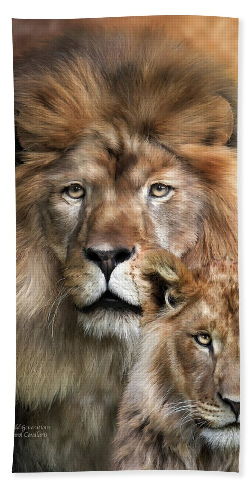Lion Bath Sheet featuring the mixed media Wild Generations by Carol Cavalaris