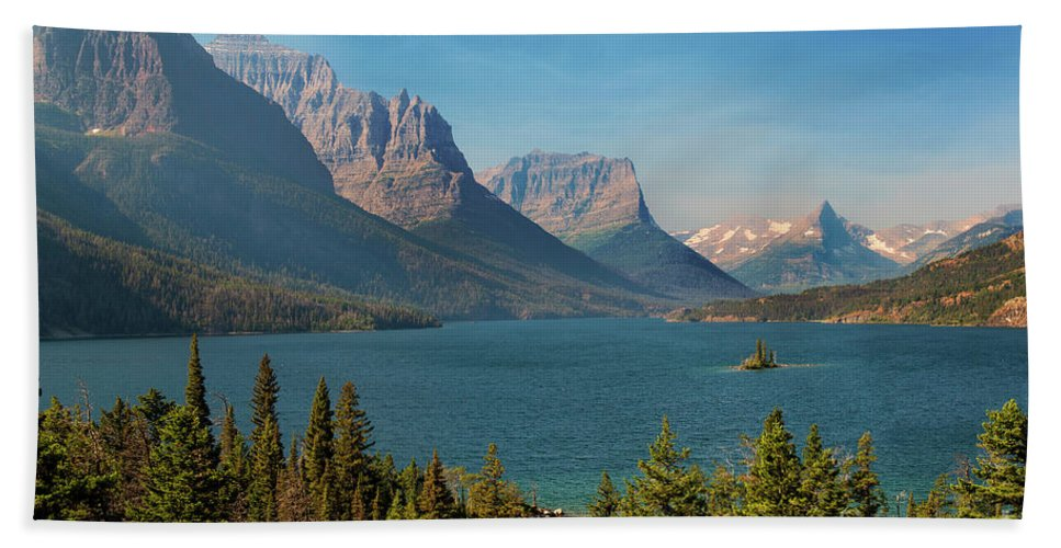 Wild Goose Island Bath Sheet featuring the photograph Wild Goose Island - Glacier National Park by Yefim Bam