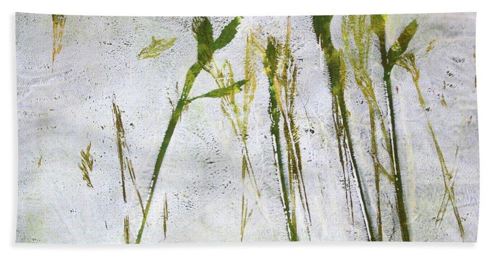 Nature Monoprint Bath Sheet featuring the painting Wild Grass 2 by Nancy Merkle