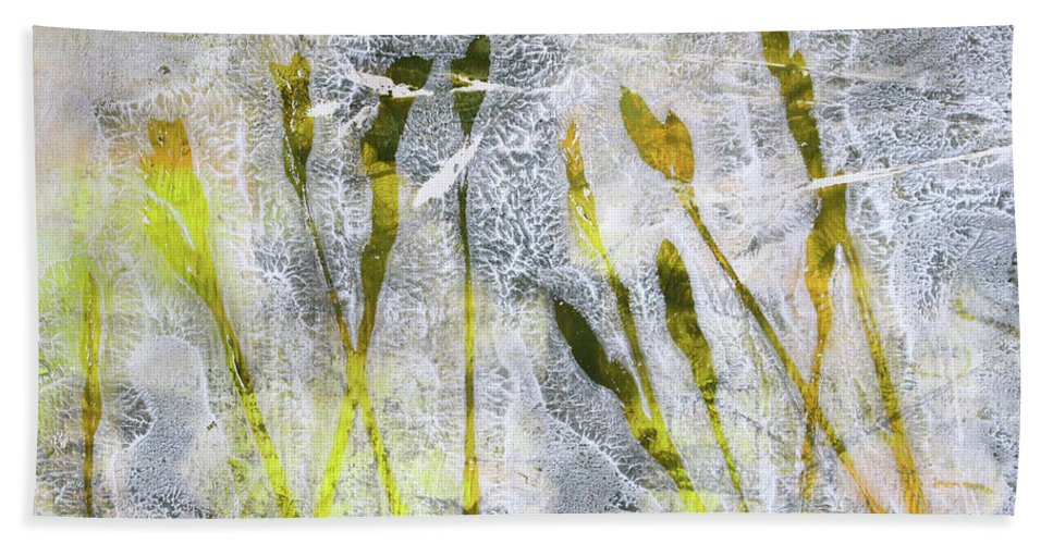 Wild Grass Monoprint Bath Sheet featuring the painting Wild Grass 3 by Nancy Merkle