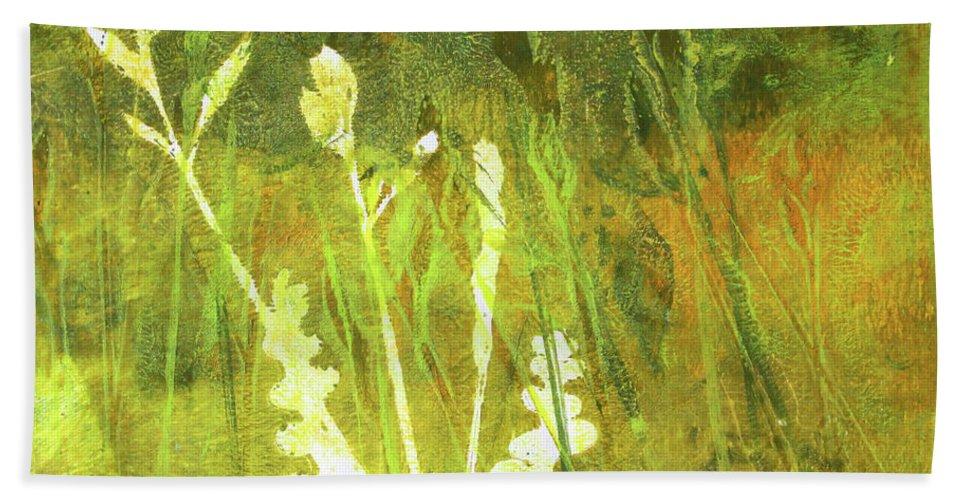 Monoprint Bath Sheet featuring the painting Wild Grass 7 by Nancy Merkle