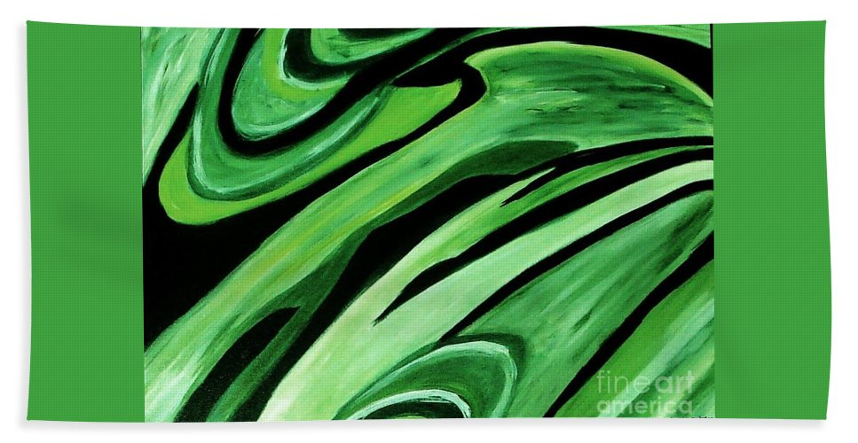 Painting Bath Sheet featuring the painting Wild Green by Yael VanGruber