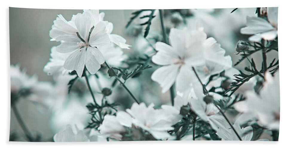 Jenny Rainbow Fine Art Photography Hand Towel featuring the photograph Wild Hollyhock. Nature In Alien Skin by Jenny Rainbow
