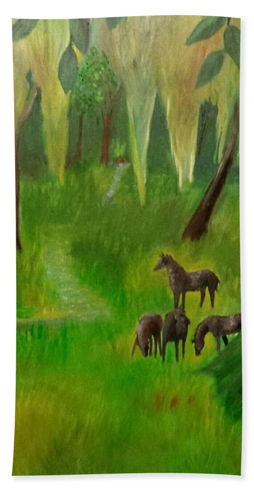 Horses Hand Towel featuring the painting Wild Horses by Cindy Harvell