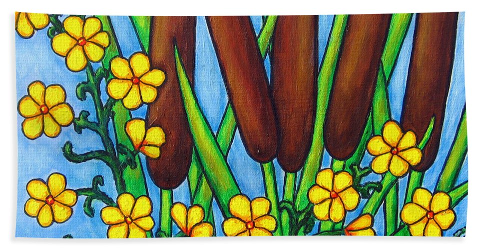 Cat Tails Hand Towel featuring the painting Wild Medley by Lisa Lorenz