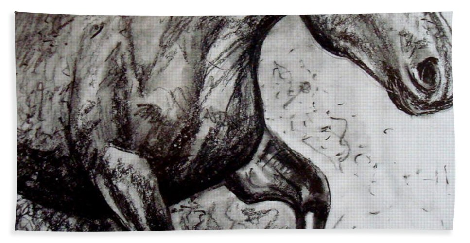 Horse Bath Sheet featuring the painting Wild Stallion by Elizabeth Robinette Tyndall