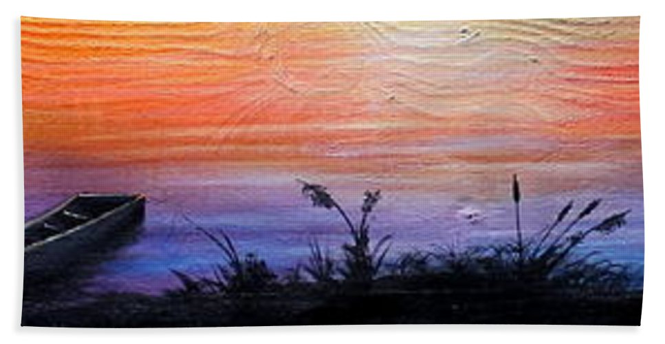 Sunset Hand Towel featuring the painting Wild Sunset by Jose Corona