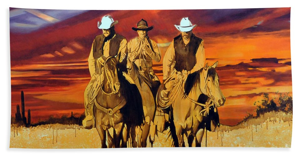 Cowboys Bath Sheet featuring the painting Arizona Sunset by Michael Stoyanov