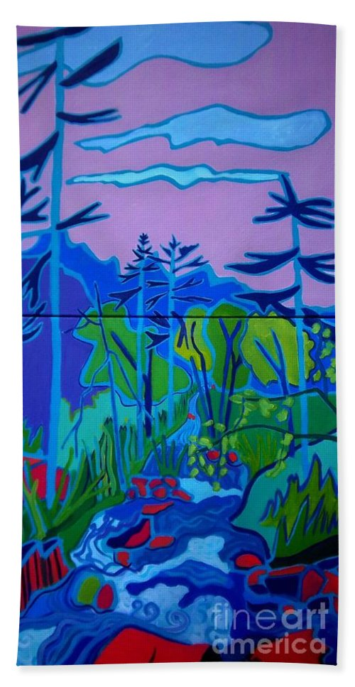 Landscape Hand Towel featuring the painting Wildcat River Jackson NH by Debra Bretton Robinson
