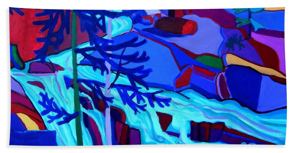 Landscape Hand Towel featuring the painting Wildcat River Waterfall Jackson NH by Debra Bretton Robinson