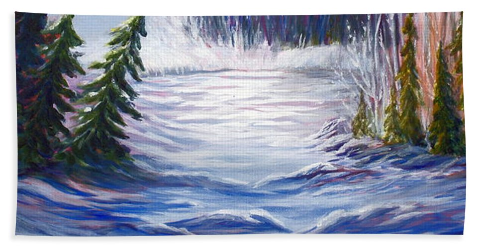 Northern Canada Winter Wilderness Forest Hand Towel featuring the painting Wilderness by Joanne Smoley