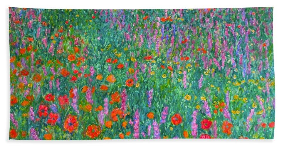 Kendall Kessler Hand Towel featuring the painting Wildflower Current by Kendall Kessler