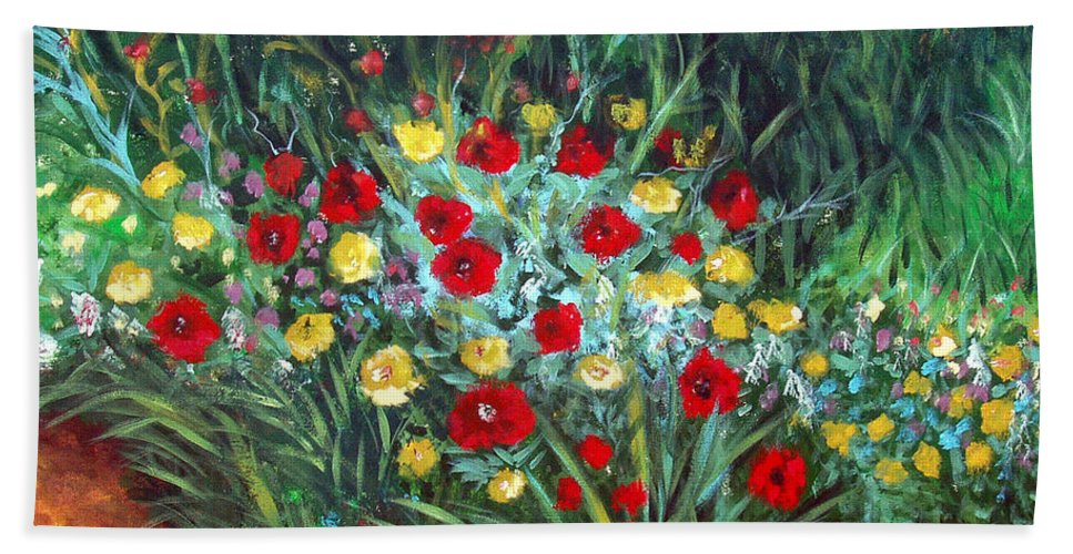 Abstract Hand Towel featuring the painting Wildflower Garden 1 by Nancy Mueller