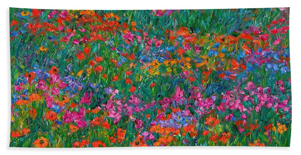 Wildflowers Bath Sheet featuring the painting Wildflower Magic by Kendall Kessler
