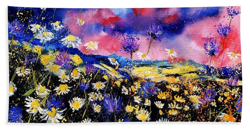 Flowers Hand Towel featuring the painting Wildflowers 67 by Pol Ledent