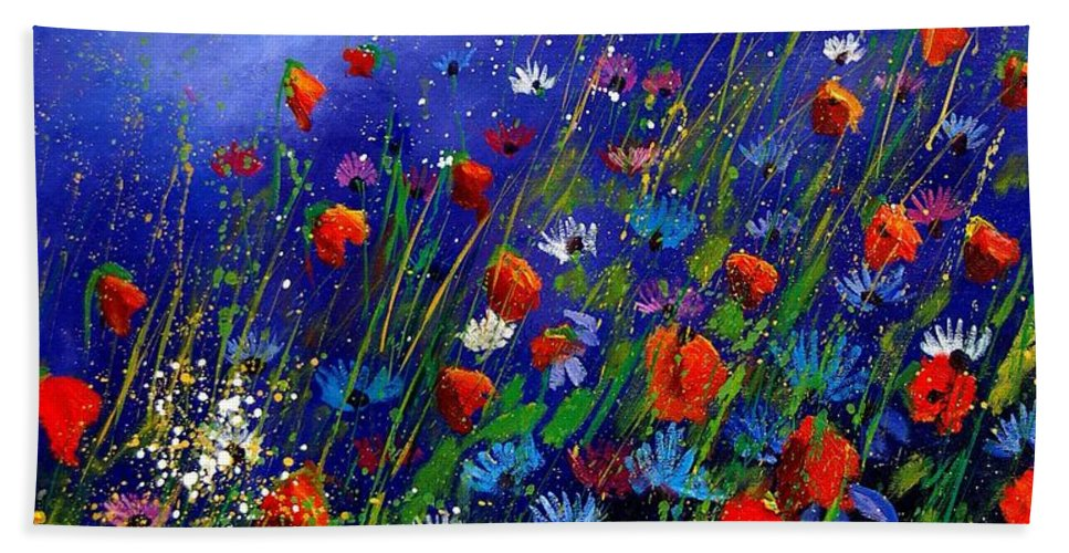 Poppies Bath Towel featuring the painting Wildflowers 78 by Pol Ledent