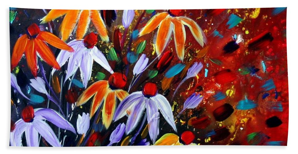 Flowers Bath Sheet featuring the painting Wildflowers At Sunset by Luiza Vizoli