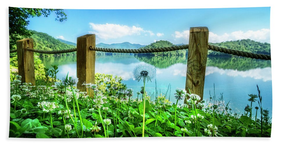Appalachia Bath Sheet featuring the photograph Wildflowers At The Lake In Spring by Debra and Dave Vanderlaan