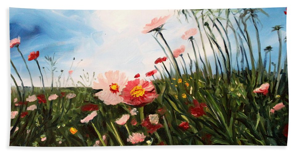 Oil Bath Sheet featuring the painting Wildflowers by Elizabeth Robinette Tyndall