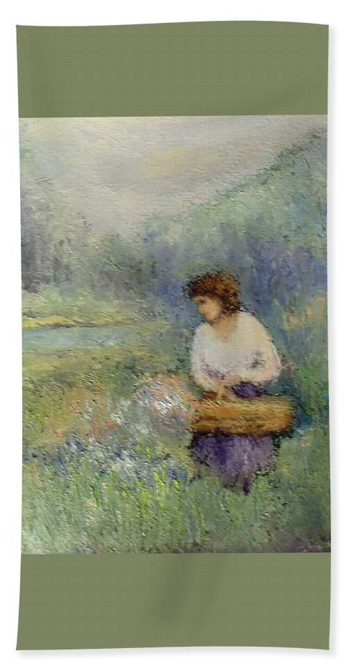 Woman Hand Towel featuring the painting Wildflowers by Gail Kirtz