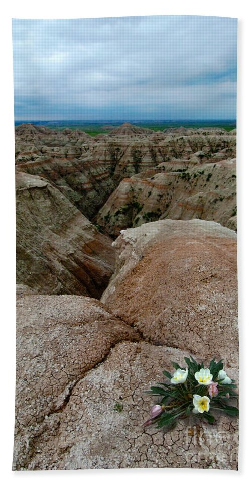 Badlands Bath Sheet featuring the photograph Wildflowers In The Badlands by Jill Battaglia